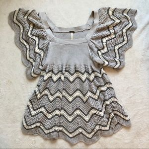 Free People grey flutter sleeve knit top
